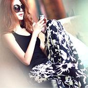 【即配】 花柄 スカーチョ ガウチョパンツ フラワー柄 パンツ ボタニカル柄 ◆メール便対応可◆