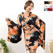 1025フラワープリント花魁着物ドレス 和柄 衣装 ダンス よさこい 花魁 コスプレ キャバドレス