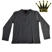 大きいサイズ【2017AW新作】MIXワッフル フェイク 5釦 Yネック ヘンリーTシャツ