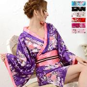 0321サテン和柄花魁KIMONOミニドレス 和柄 衣装 ダンス よさこい 花魁 コスプレ キャバドレス