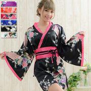 【再入荷】0032サテン和柄花魁ミニ着物ドレス 和柄 衣装 ダンス よさこい コスプレ キャバドレス