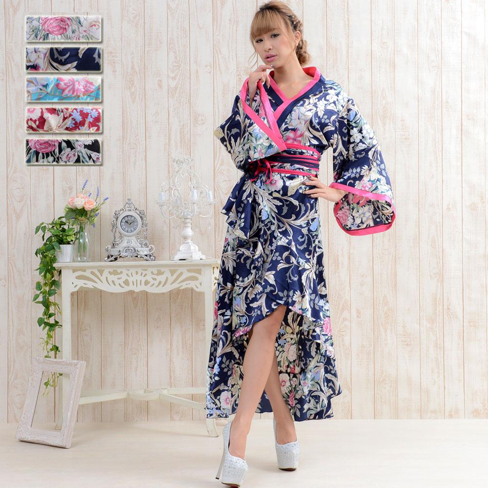 9021サテン和柄ロング着物ドレス  衣装 ダンス よさこい 花魁 コスプレ キャバドレス ハロウィン