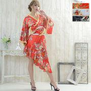 【再入荷】0013☆帯付きななめカットフリル花魁着物ロングドレス 和柄 衣装 ダンス よさこい 花魁 コスプレ