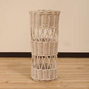 【ラタン家具】 傘立て ホワイト (天然ラタン使用)(直送可能)
