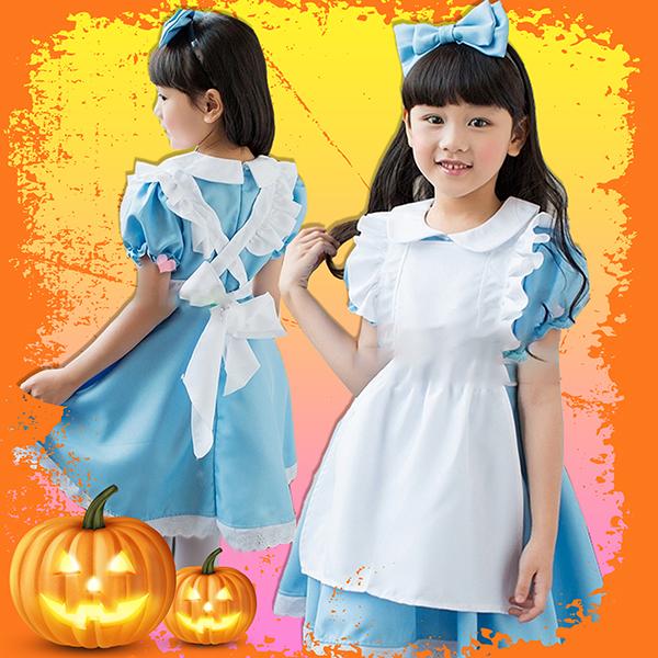 オリジナル 不思議の国のアリス 子供用 エプロン付きワンピース テーマパーク ハロウィン衣装