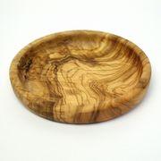 オリーブ木円形浅皿(12CM)