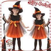 子供用 魔女 こども オレンジ ワンピース コスチューム コスプレ 仮装 Halloween 演出服