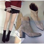 海外セレブ愛用 太ヒール 靴 ショート ブーツ 大人気 全3色 7sept-ses-147
