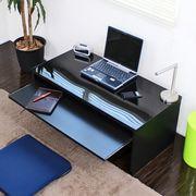 デスク スライドテーブル付 90cm幅 ローデスク ブラック 日本製  FM107N-BK