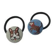 かわいいイヌデザイン 刺繍くるみボタンヘアゴム(ヘアポニー)