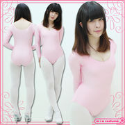 1203A■MB■送料無料■ ロングスリーブレオタード単品 色:ピンク サイズ:M/BIG
