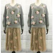 上下セット カットソー Vネック ダメージ加工 クラッシュ 花柄 ビジュー付き ファッション 全2色 #706334