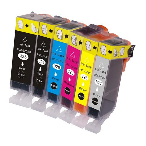【1年保証付・チップ付】 CANON 互換インクカートリッジ BCI-326+325 6色