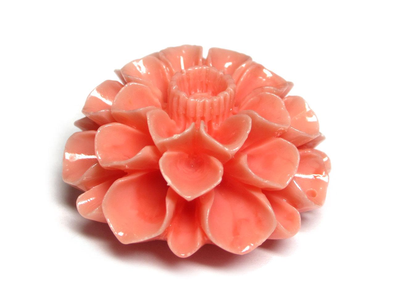 珊瑚(練り) フラワーモチーフ パーツ ピンク 約41×20mm 【1個販売】