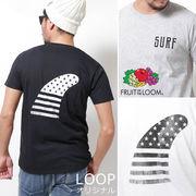 【2017SS新作】 FRUIT OF THE LOOM フルーツオブザルーム モノクロ星条旗フィン Tシャツ / メンズ