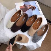 秋冬 新しいデザイン 韓国風 ミンク スクエアヘッド 浅い口 フラット 靴 女 ウサギ
