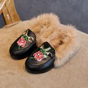 冬 新しいデザイン 韓国風 女児 ふわふわ 革靴 刺しゅう 児童 ピーズ靴 手厚い コッ