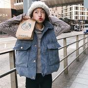 秋冬 新しいデザイン 女性服 ルース 着やせ シングル列ボタン コーデュロイ 学生 大型