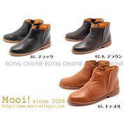 【Mooi!】 MF362 本革レザー サイドジップ ハイカット ブーツ 全3色 レディース