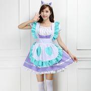 【即日出荷】紫エプロン メイド服  コスプレ衣装 【5401】