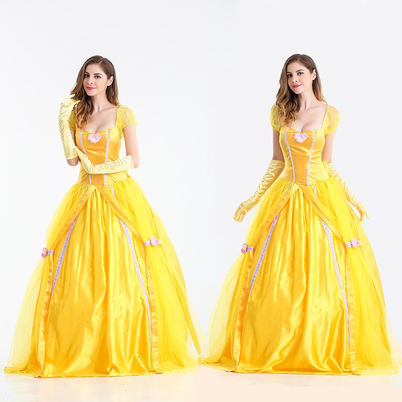 【即日発送】 ゴールド ロング丈ドレス プリンセス ハロウィン衣装【4708/2】