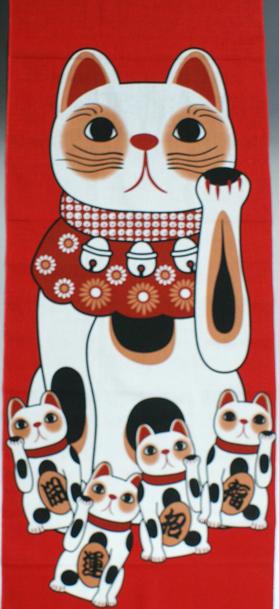 福まねき猫_招き猫(赤) 日本手ぬぐい