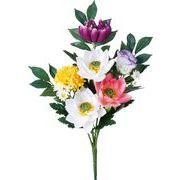ポピー 造花 仏花ブッシュロータス(2P) 全長39cm・幅29cm ミックス