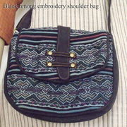 黒モン族の刺繍を贅沢に使ったショルダーバッグ♪黒モン族刺繍スエードショルダーバッグ