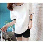 ★ゆったりTシャツ★トップス★半袖★★シンプル★全2色ブラック、ホワイト(M-2XL)