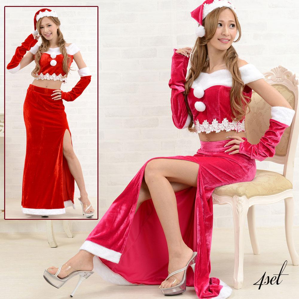【再入荷】1039サンタ4点セットクリスマス サンタコスチューム キャバドレス