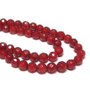 珊瑚(染色) 真紅ラウンドカット 約4mm 連販売 約粒75個