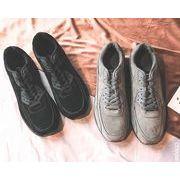 秋冬メンズスニーカー ファッション カジュアル 靴♪ブラック/グレー2色