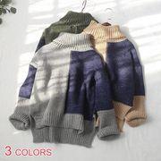 【OML】プレッピー風バイカラータートルネック長袖スリットゆるニットセーター :全3色_OML6834