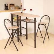 【直送可】ハイテーブル ダイニング3点セット(収納付き・テーブル高さ88cm) CT-1200