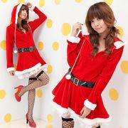 クリスマス服 ☆レディース誘惑制服 フード付き長袖 仮装 サンタ衣装 コスチューム/コスプレ