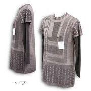 重ね着風チュニック丈セーター【ML】【3色展開】