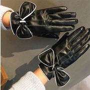 ★2017秋冬★レディース かわいい 手袋 グローブ PU リボン 加厚 防寒