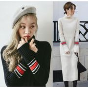 レディースワンピース 2色 ニットワンピース  セーター お洒落 ハイネック 通勤 通学人気 韓国風