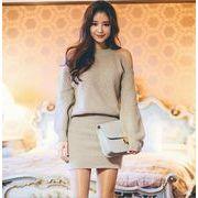 冬新作 ニットワンピース レディース ニットワンピ セーター セットアップ スカート 韓国ファッション