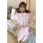 秋冬 女性服 新しいデザイン 韓国風 かわいい 少女 ナイトドレス レース 人形の襟 単