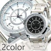 シンプル定番デザインにラインストーン シルバーメタルバンドのメンズウォッチ メンズ腕時計 AV030