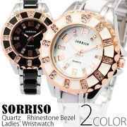 正規品SORRISOソリッソ ピンクゴールド装飾 ラインストーンベゼル シルバーコンビ SRHI12 レディース腕時計