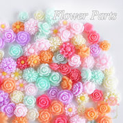 単価8.5円デコパーツ♪ゆめいろ可愛い♪パステルカラーのフラワーカボションミックス100個♪花/バラ