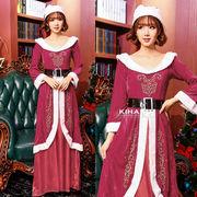 【即日出荷】ロング丈女王ドレス サンタコスチューム クリスマス コスプレ衣装【9211】