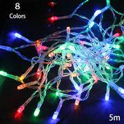 LED電飾クリスマスツリー光る/間接照明 インテリア/セット販売のみ/乾電池式 8色 5m 50球