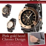 ピンクゴールドクロノベゼルメンズ 腕時計 IK10