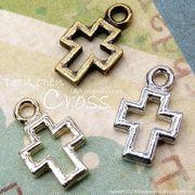"""★新掲載★L&A Original Parts★K16GP&本ロジウム&金古美★クロスチャーム♪""""petit open cross"""""""