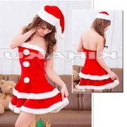 【即日出荷】前3個ボンボン サンタ衣装 クリスマス/コスプレ【9460/2】