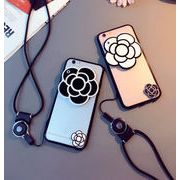 ストラップ付きソフトケース カメリアスマホケース iPhone7/8 plus ミラーケース