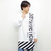 裏毛 裾切替ロング丈長袖スウェット(サイドジップ バイアス Dis)
